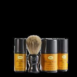 Pre-Shave Oil 1 oz, Shaving Cream 1.5 oz, After-Shave Balm 1 oz, Shaving Brush