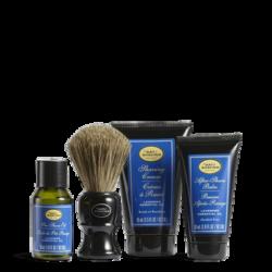 Pre-Shave Oil 1 oz, Shaving Cream 1.5 oz, After-Shave Balm 1 oz, 1 Shaving Brush