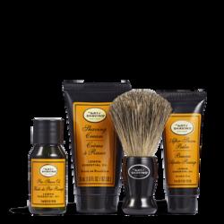 Pre-Shave Oil 0.5 oz, Shaving Cream 1 oz, After-Shave Balm 0.5 oz, 1 Shaving Brush